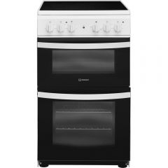 Indesit ID5V92KMW 50Cm Electric Twin Cooker With Ceramic Radiant Hob