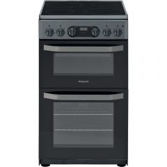 Hotpoint HD5V93CCSS 50Cm Electric Double Cooker With Ceramic Radiant Hob