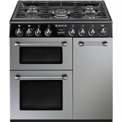 Smeg BU93S 90Cm Silver Three Cavity Dual Fuel - Burghley Cooker